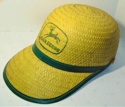 1950s Mens Hats | 50s Vintage Men's Hats VINTAGE 1950s-60s JOHN DEERE YELLOW STRAW CAP/HAT WITH GREEN TRIM! OLD LOGO! XL $69.99 AT vintagedancer.com