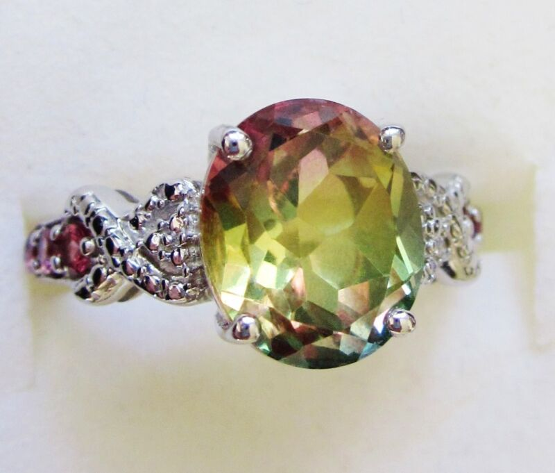 Rainbow Quartz & Rhodolite Garnet Ring in Sterling Silver size 9.5 -- 5.9 cts