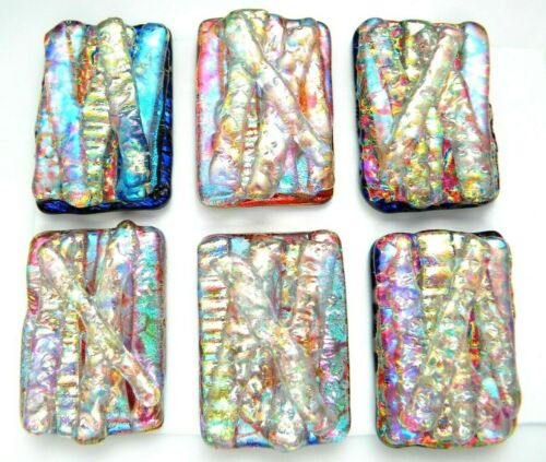 PREMIUM Lot 6 pcs RECTANGLE DICHROIC FUSED GLASS pendant (N5) CABOCHON HANDMADE