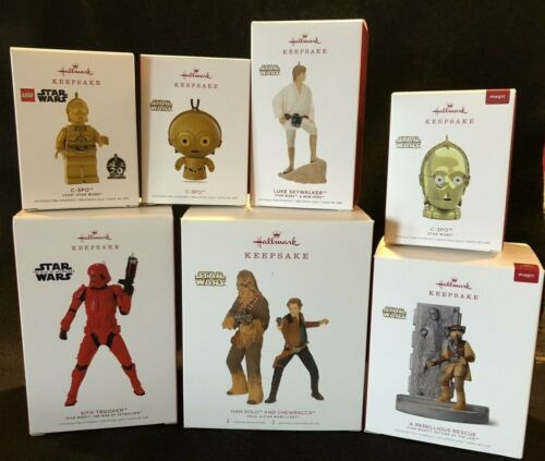 Star Wars Hallmark Ornament Set of 8 2018-19: Luke/Han/Chewy/Sith/RebelRes/C3PO