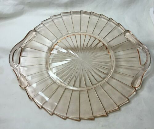 * Jeannette Sierra Pinwheel Depression Glass Pink Serving Tray with 2 Handles