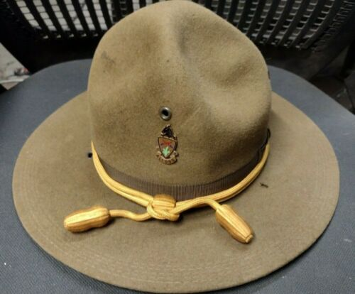 M1911 Montana Peak Campaign Hat,5 Row Stitching,11th Cavalry Pin And Cord