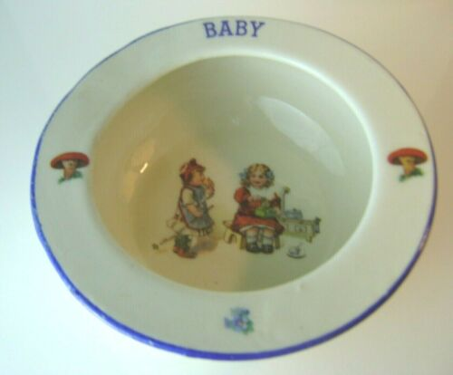Antique BABY DISH BOWL with Rolled Edge from Czechoslovakia Ceramic Circa 1910