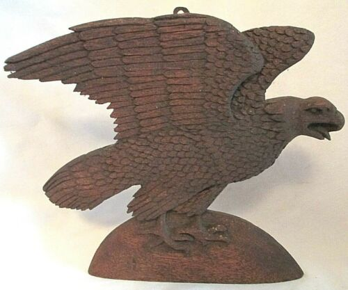 Folk Art VINTAGE Turn of Century Carved AMERICAN EAGLE Mahogany Wall Hanging