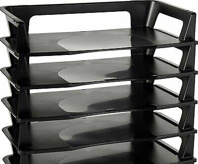 Rubbermaid Regeneration Letter Stack Tray 5-tier Plastic Black Desk Organizer