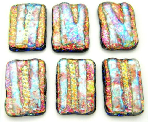 PREMIUM Lot 6 pcs RECTANGLE DICHROIC FUSED GLASS pendant (N23) CABOCHON HANDMADE