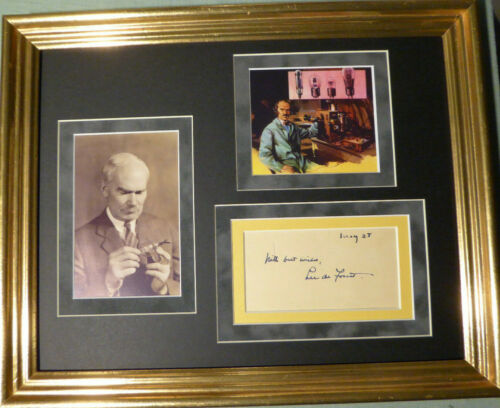 "LEE DE FOREST INVENTOR ""FATHER OF RADIO"" AUTOGRAPHED SIGNED DISPLAY W/COA"