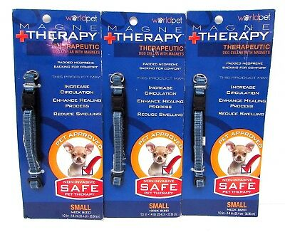 """3 Magne Therapy Therapeutic Dog Collar w Magnets Small 10-14"""" Neck Blue NEW"""