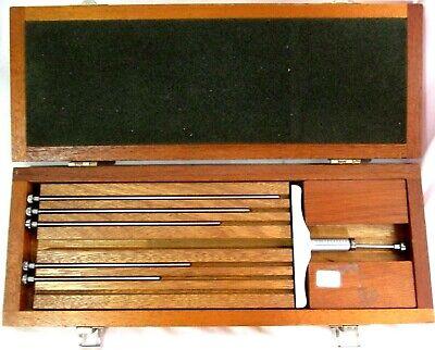 Brown Sharpe Depth Gage Set W Original Wooden Case 7 Piece Set