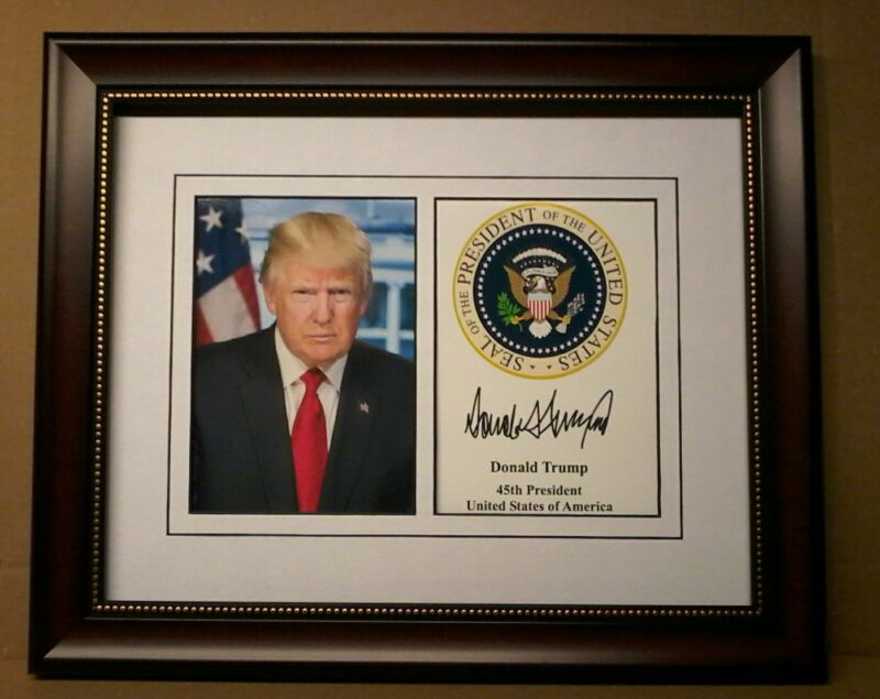 President Donald Trump Presidential Seal Autograph 8 x 10 Photo Framed 264025857