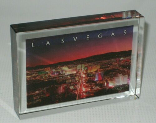 Souvenir Crystal Glass Paperweight - Las Vegas, Nevada - Color Photo Aerial View