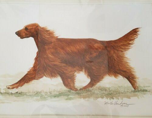 Original watercolor of a Irish Setter trotting  by Martha Van Loan