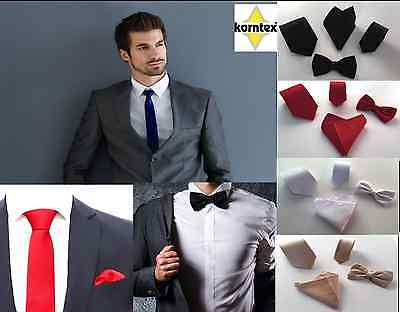 Korntex ® Krawatte schmal klassisch Fliege Einstecktuch Krawattenset Business