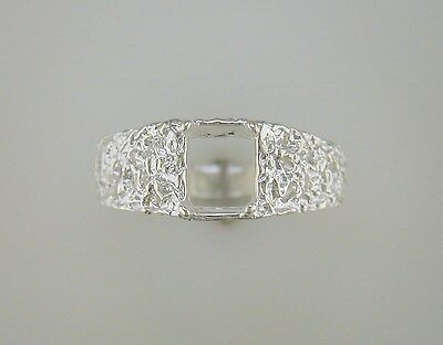 Mens 8 x 6 mm Emerald Cut Filigree Solitaire Ring Setting Sterling Silver