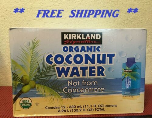 2 PACK ~~~ Kirkland Signature Organic Coconut Water, 11.1 fl oz, 12-count