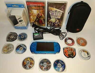 SONY PSP 3001 VIBRANT BLUE TESTED NEW BATTERY/ CHARGER / CASE 12 GAMES 1GB