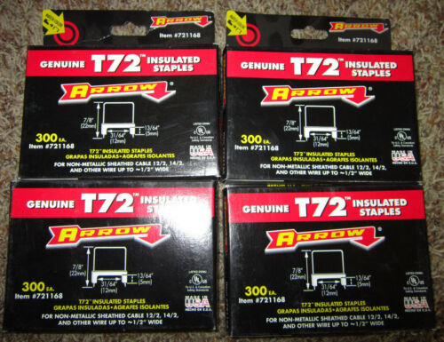 "Lot 4 Boxes 300 Arrow Insulated T72 Wire Cable 31/64"" Staples 1200 Pack"