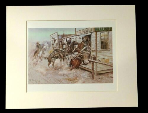 """Charles M Russell """"In Without Knocking"""" 11 x 14 Matted Western Print"""