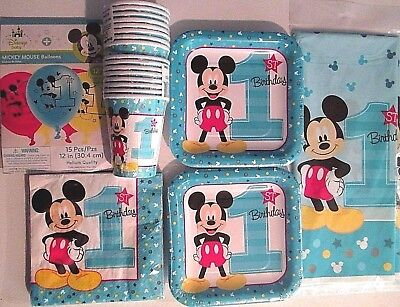 MICKEY MOUSE Fun To Be One 1st Birthday Party Supply Kit Pack for 16 w/Balloons - Mickey Mouse For Birthday Party