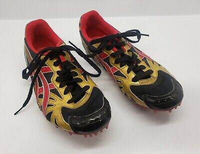 Track Running Spikes Asics Athletic Size 7.5 GN009 Red Gold Black  ()
