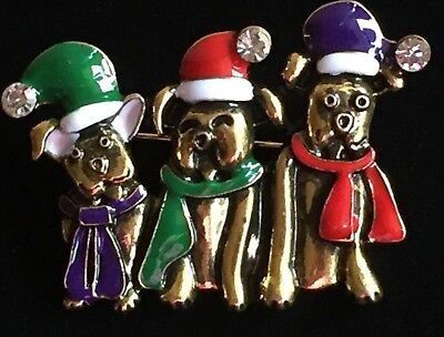 GOLD PURPLE RED CHRISTMAS 3 THREE SANTA DOG PUPPY COSTUME PIN BROOCH JEWELRY 3D - Purple Santa Costume