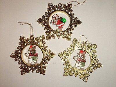 Vintage Christmas Snowflake Ornament Lot with Clear Acrylic Snowman & Santa