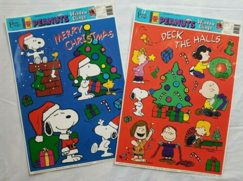 2 Vintage Peanuts Window Clings Christmas Charlie Brown Snoopy Lucy Linus Santa
