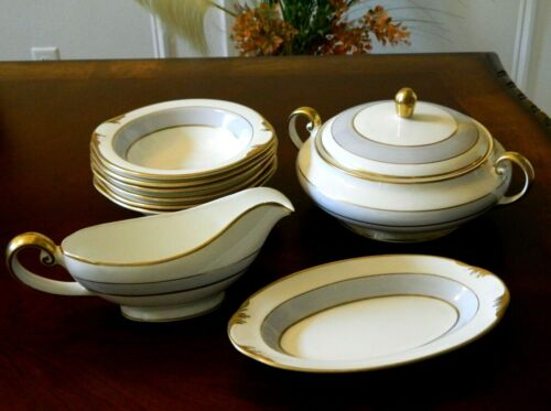 VTG POPE GOSSER CHINA MADE IN USA 52 GRAY DAWN WARRANTED COIN GOLD DINNER SET