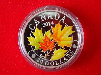2014 Canada $20 Majestic Maple Leaves 1oz Fine Silver Proof Coin