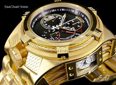 Invicta Reserve 52mm Bolt Zeus TRIA Swiss Quartz Black Dial Gold Bracelet Watch