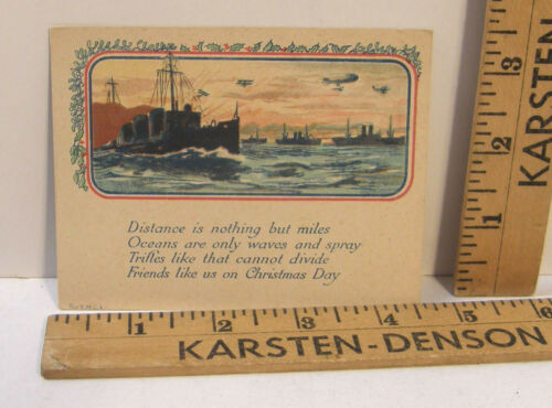 ANTIQUE YMCA WWI PATRIOTIC MILITARY CHRISTMAS CARD W/SHIPS ZEPPELIN BIPLANE