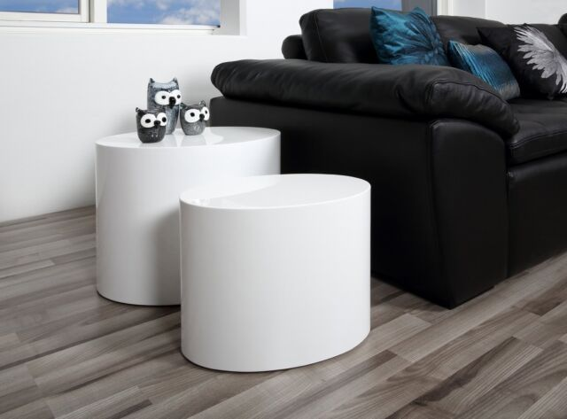 Scandinavian Coffee Table Set 2 Piece White Round Oval Living Room Furniture NEW