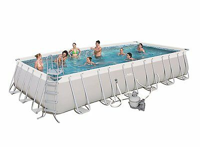 "Bestway 24' x 12' x 52"" Rectangular Frame Above Ground Swimming Pool Set"