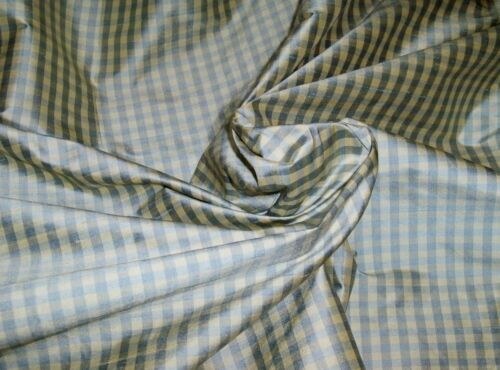 TAPESTRIA FRENCH COUNTRY GINGHAM CHECK SILK FABRIC 10 YARDS FRENCH BLUE CREAM