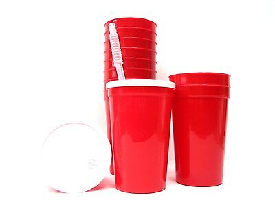 12-Large 20 Ounce Red Plastic Drinking Glasses Lids Straws Made in America