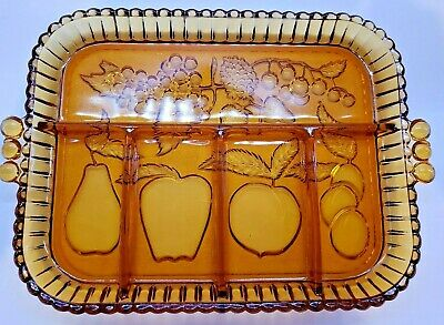 Vintage Divided Relish Tray- Indiana Glass  Amber Fruit Garland Happenings