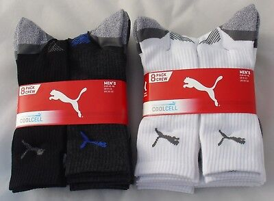 PUMA Men's All Sports Socks, CoolCell Crew Socks Size 9-11, Pairs 1 or 4 or 8