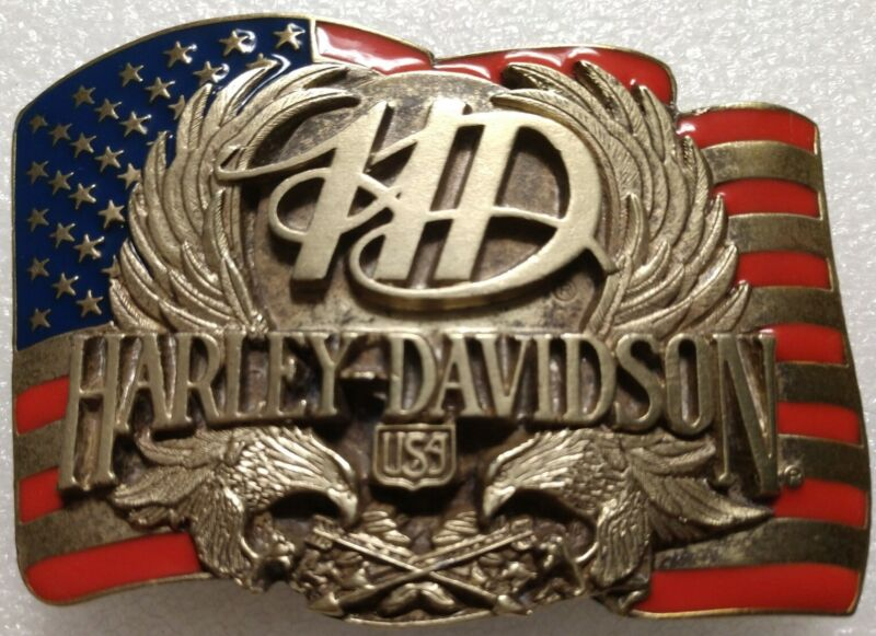 RARE HARLEY DAVIDSON BORN IN THE USA FLAG & SCREAMIN EAGLES 1989 BELT BUCKLE NEW