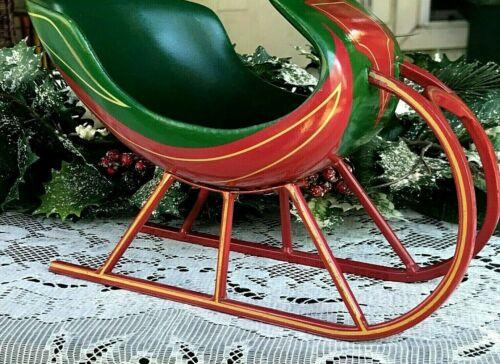 "Ceramic Christmas Tabletop Sleigh Teleflora Green/Red w/Metal Runners 8 1/2"""