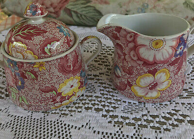 Spode Pink Chintz Florence Sugar Bowl with Lid & Creamer  Made In England