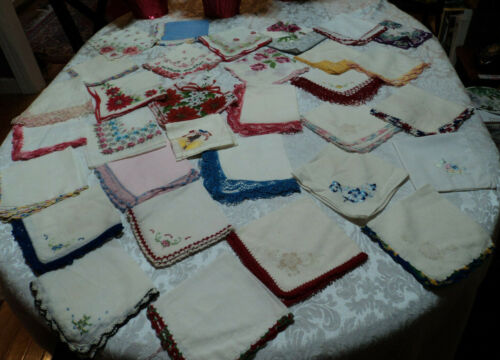 lot 32 vintage ladies handkerchiefs: embroidery, tatting, crochet, lace