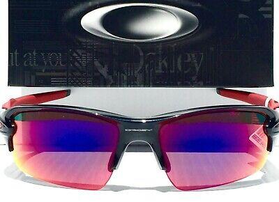 NEW* Oakley FLAK JACKET 2.0 Black Red w RUBY Iridium Lens Sunglass (Black And Red Oakleys)