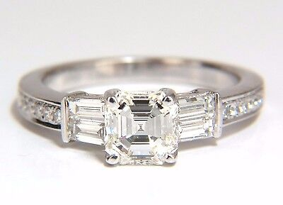 GIA Certified 1.62ct natural asscher diamond ring engagement classic 18kt+