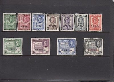 Somaliland Protecturate 1951 KGV1 New Currancy Set. SG125-135 (MLH)