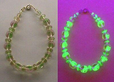 PINK and Green Round-Square Vaseline Glass Bracelet 14kt. gold-filled Signed MH