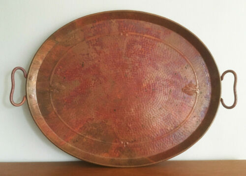 Vtg Mexican Hammered Repousse Solid Copper Oval Tray with Handles Signed E.L.G.