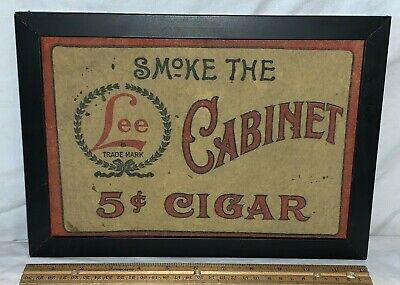 ANTIQUE HD LEE MERCANTILE CABINET 5 CENT CIGAR FELT COUNTRY STORE SIGN TOBACCO