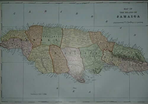 Rare Vintage 1911 Atlas Map ~ JAMAICA ~ Old & Authentic ~ Free S&H
