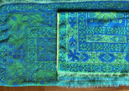 Vintage bath & hand towel set Tastemaker Mohawk blue green yellow cotton 70s