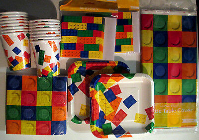 BLOCK PARTY LEGO - Birthday Party Supply Set Pack Kit w/ Invitations